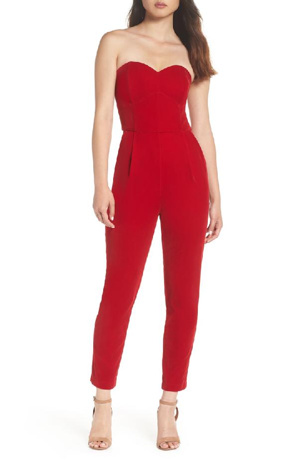 Adelyn Rae Hayden Strapless Velvet Jumpsuit In Red