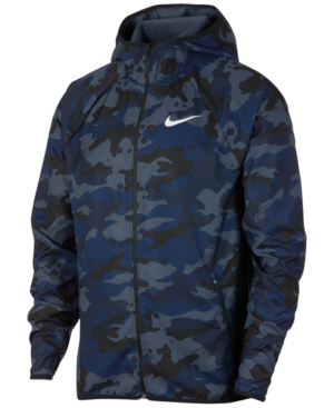 Nike Men's Woven Camo-print Training Jacket In Blue Void