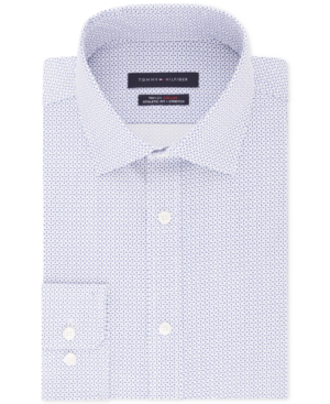 Tommy Hilfiger Men's Fitted Th Flex Performance Stretch Moisture-wicking Blue Print Dress Shirt In Blue Bird