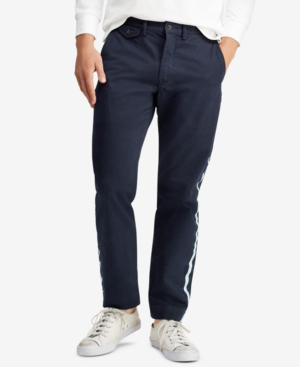 Polo Ralph Lauren Men's Stretch Straight Fit Bedford Chino Pants In Aviator Navy W/ Stripe