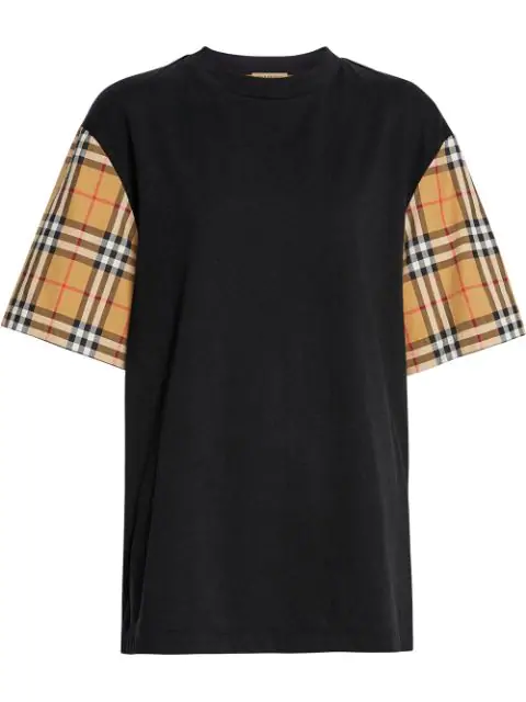Burberry Vintage Check-Sleeve Cotton Oversized T-Shirt In Black