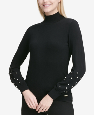 Calvin Klein Embellished Mock-neck Sweater In Black