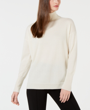 Calvin Klein Cashmere Solid Turtleneck Sweater In Ivory