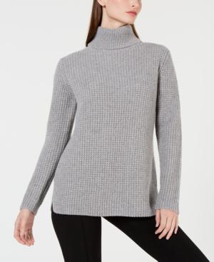 Calvin Klein Cashmere Textured Turtleneck Sweater In Heather Granite