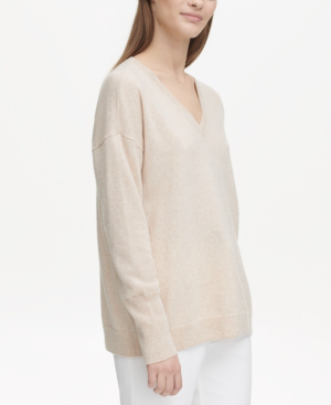 Calvin Klein Cashmere V-neck Sweater In Oatmeal Melange
