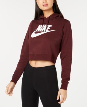 Nike Sportswear Rally Logo Cropped Fleece Hoodie In Burgundy Crush