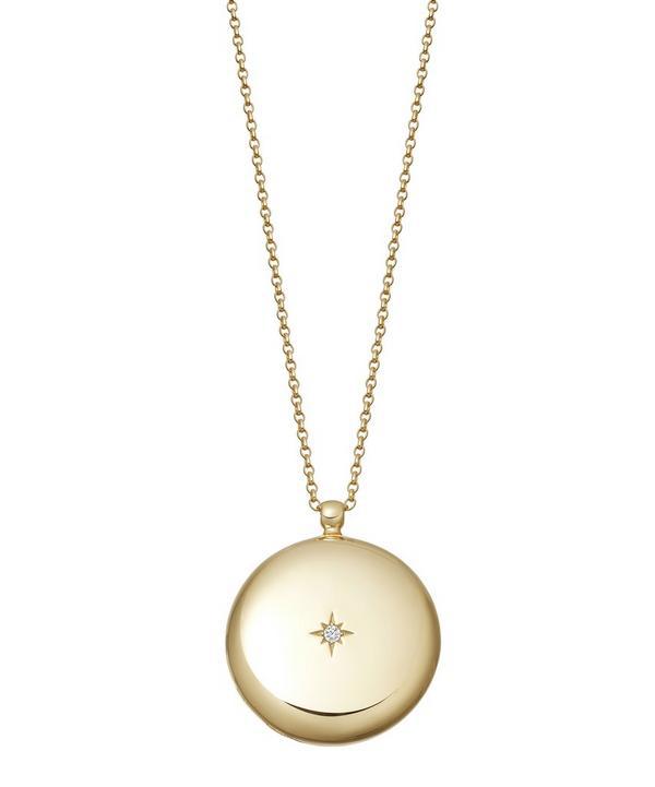 Astley Clarke Gold Vermeil Contemporary Sapphire Large Astley Locket Necklace