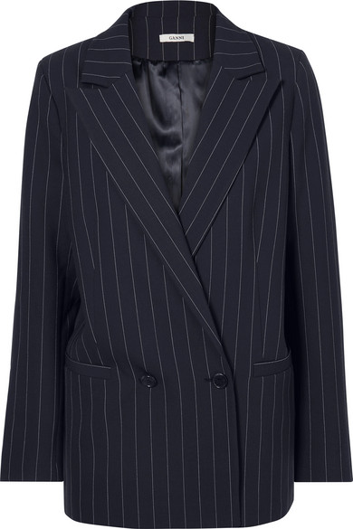 Ganni Pinstriped Cady Blazer In Midnight Blue