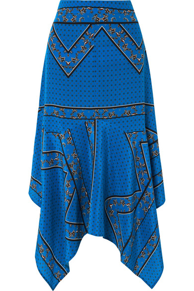 Ganni Cloverdale Bandana-Print Silk-Crepe Midi Skirt In Cobalt Blue