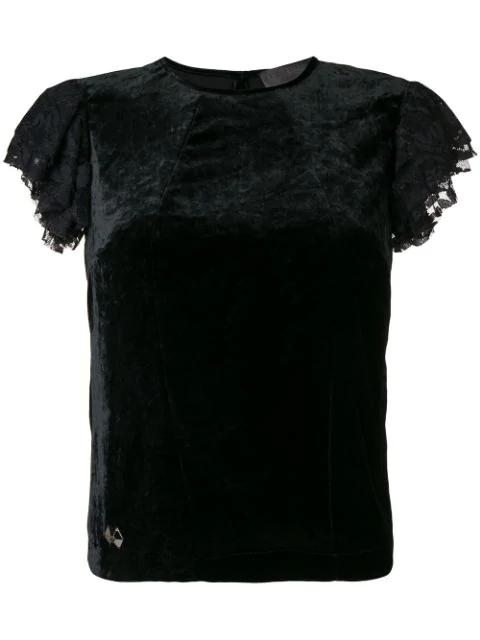 Philipp Plein Lace Sleeve Top In Black