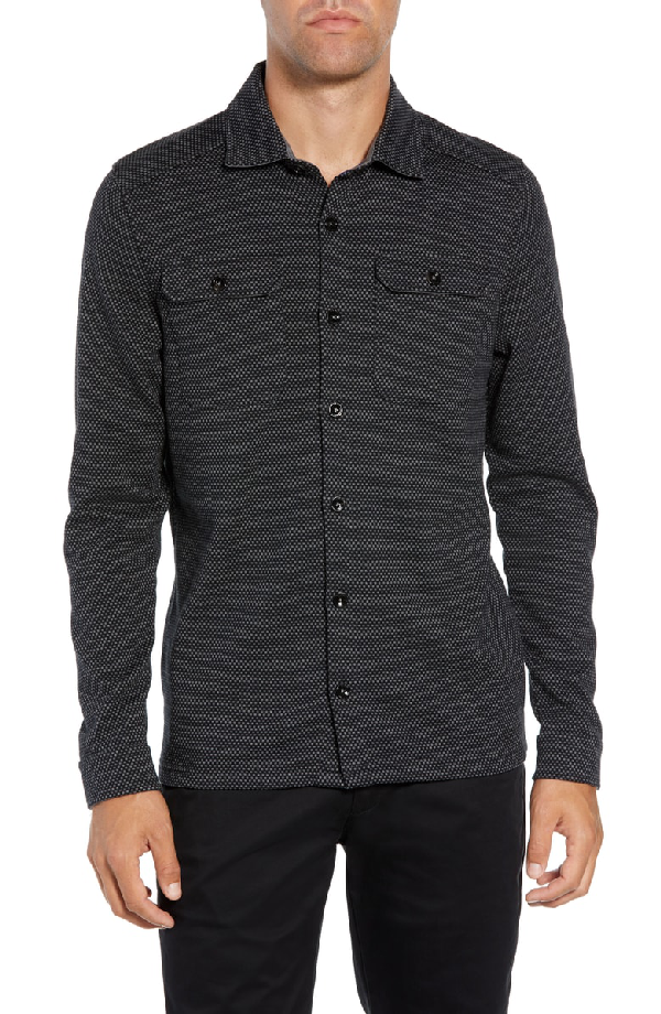 Ted Baker Toolow Trim Fit Solid Sport Shirt In Charcoal
