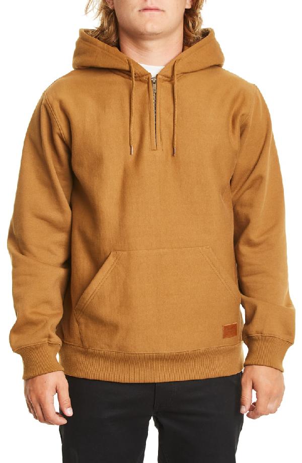 Brixton Longman Fleece Hoodie In Washed Copper