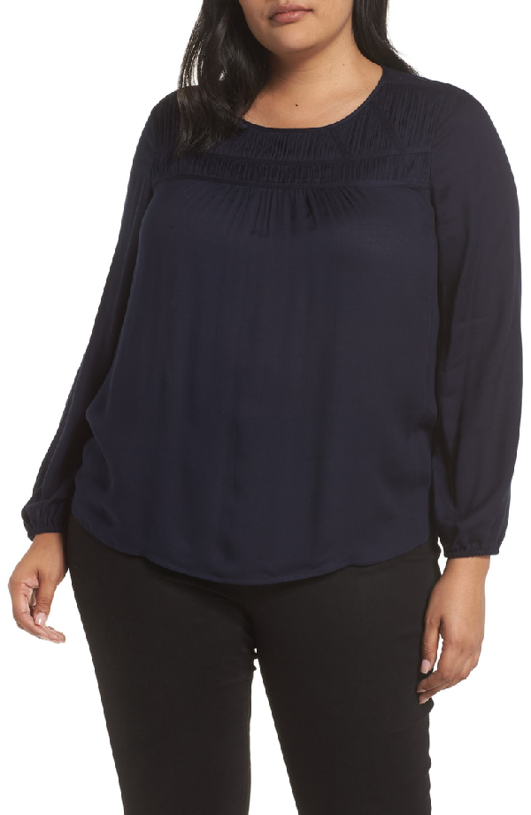Vince Camuto Pleat Yoke Top In Classic Navy