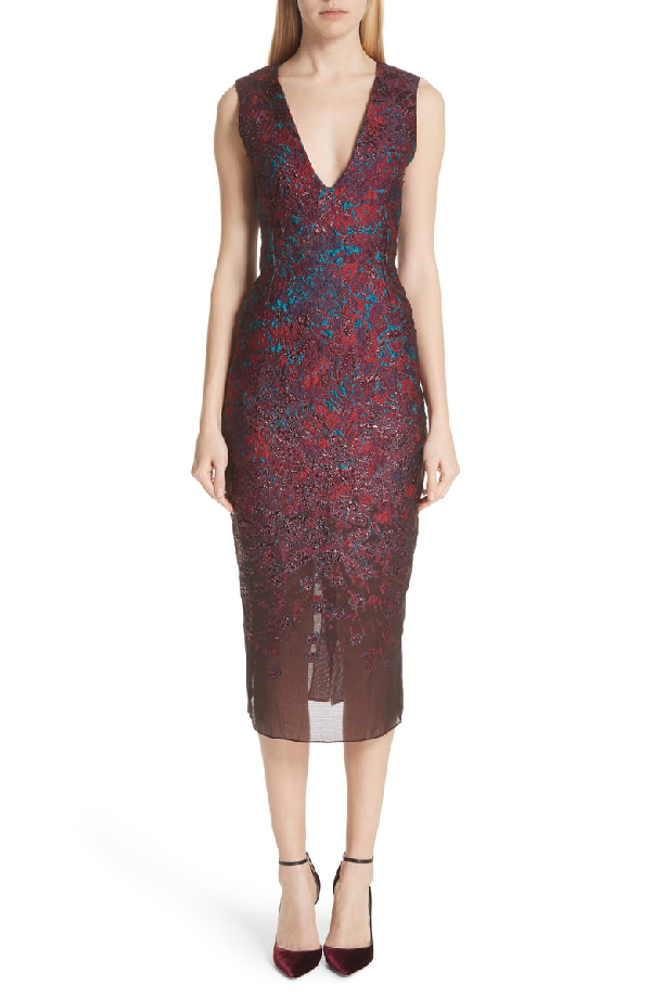 Malene Oddershede Bach May Cocktail Dress In Black/ Wine Red