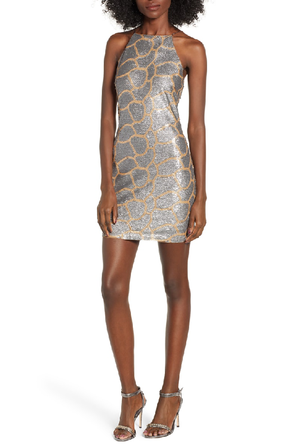 Endless Rose Sequin Minidress In Gold/ Silver
