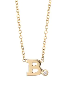 ZoË Chicco Diamond & 14K Yellow Gold Initial Pendant Necklace In Initial B