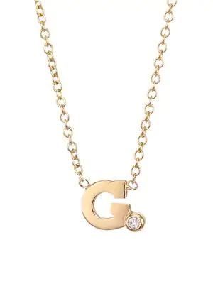 ZoË Chicco Diamond & 14K Yellow Gold Initial Pendant Necklace In Initial G