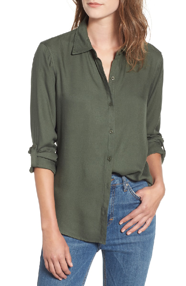 Love, Fire Button Tab Long Sleeve Shirt In Solid Olive