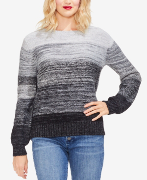 Vince Camuto Ombre Bubble-sleeve Sweater In Medium Heather Grey