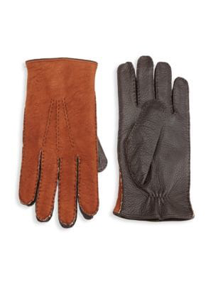 Saks Fifth Avenue Collection Shearling-lined Deerskin Leather Gloves In Cognac Brown
