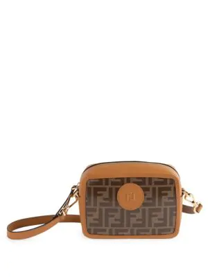 Fendi Mini Logo Camera Bag In Tan