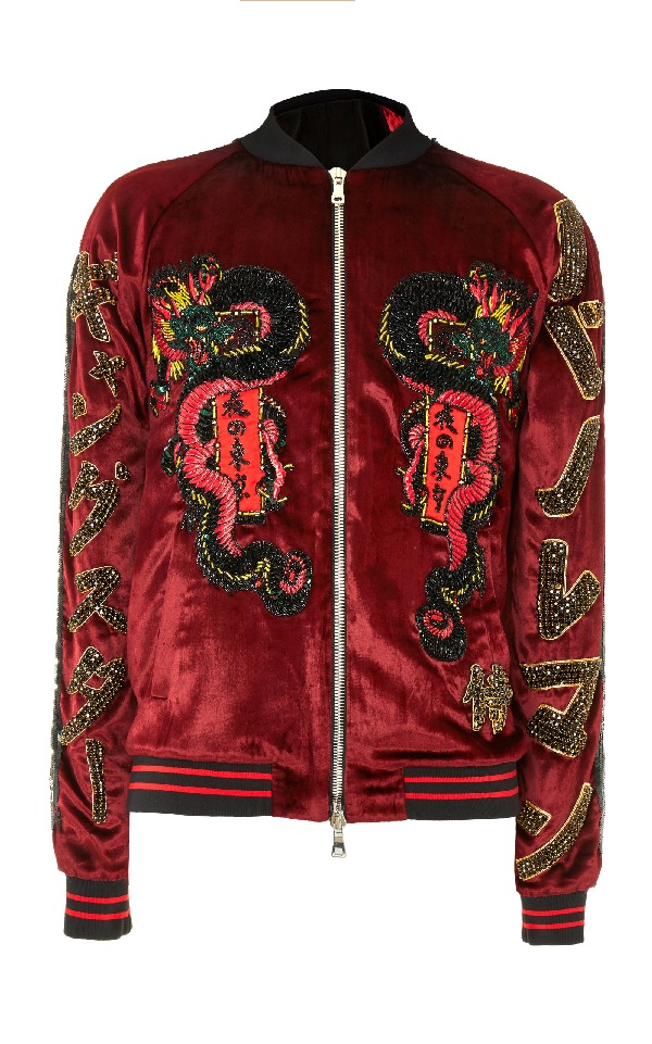 Balmain Embroidered Bomber Jacket In Multi