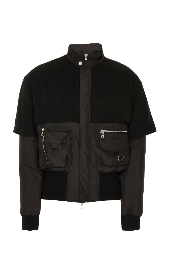 Balmain Mix Material Bomber Jacket In Black