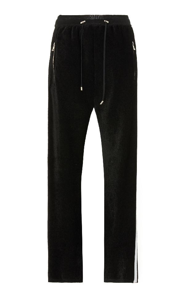Balmain Side Stripe Velvet Sweatpants In Black/white