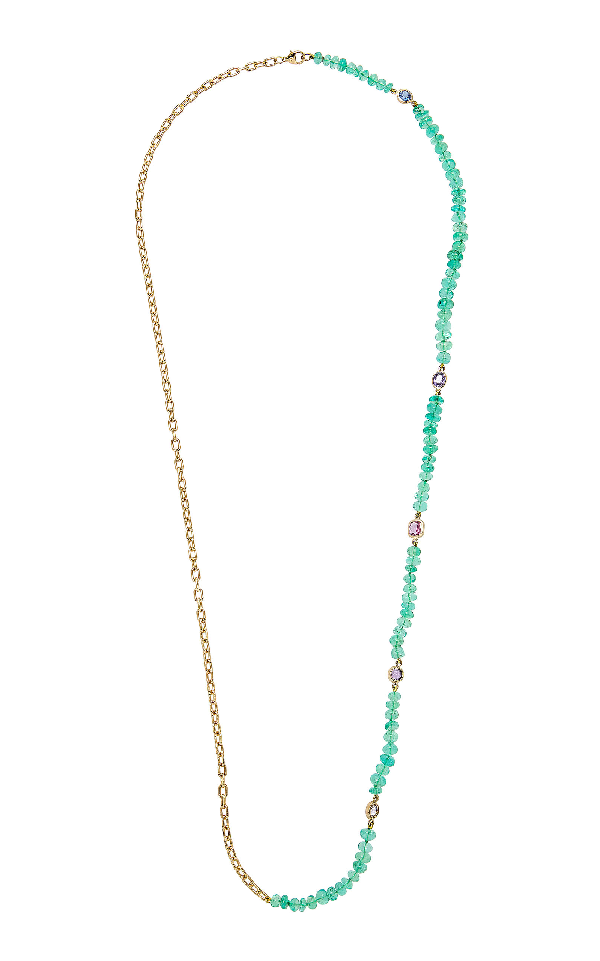 Objet-a The Blue Hour Colombian Emeralds Necklace In Green