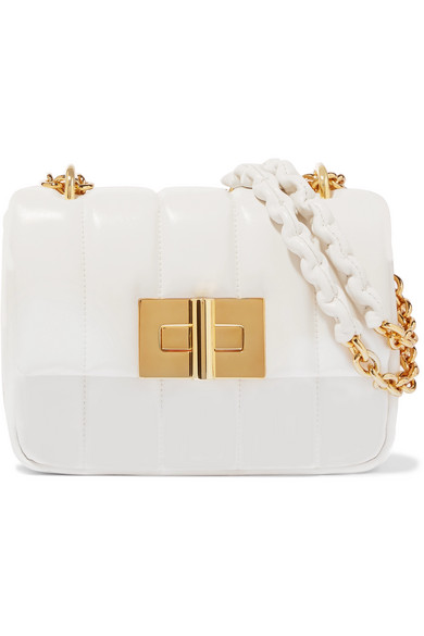 Tom Ford Natalia Large Quilted Leather Shoulder Bag In White