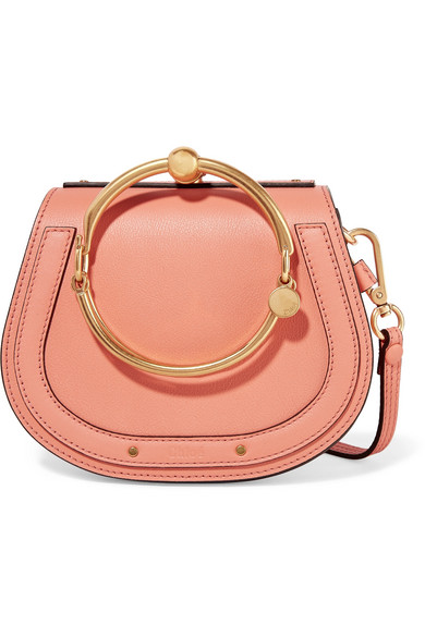 ChloÉ Nile Bracelet Small Leather And Suede Shoulder Bag In Peach