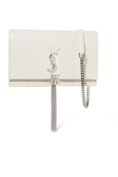 Saint Laurent Kate Small Croc-effect Leather Shoulder Bag In Ivory