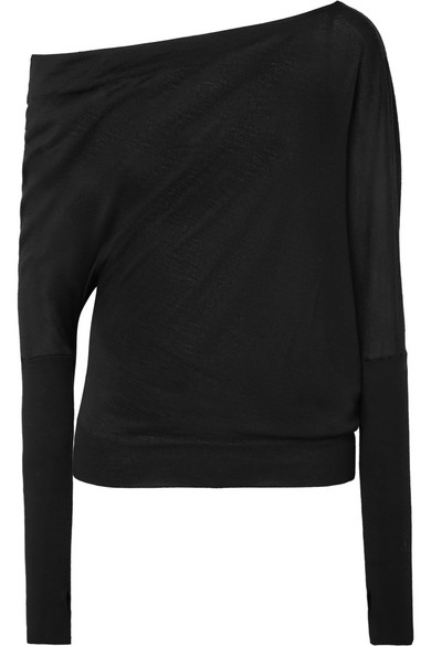 Tom Ford One-shoulder Cashmere And Silk-blend Sweater In Black