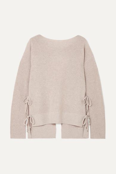 Altuzarra Templar Tie-back Ribbed Cashmere Sweater In Beige