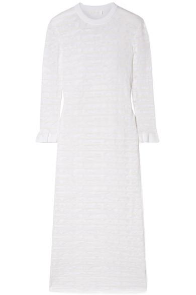 ChloÉ Striped Cotton-blend Stretch-lace Midi Dress In White