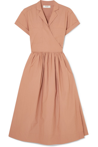 Sea Calah Cotton-poplin Wrap Dress In Blush
