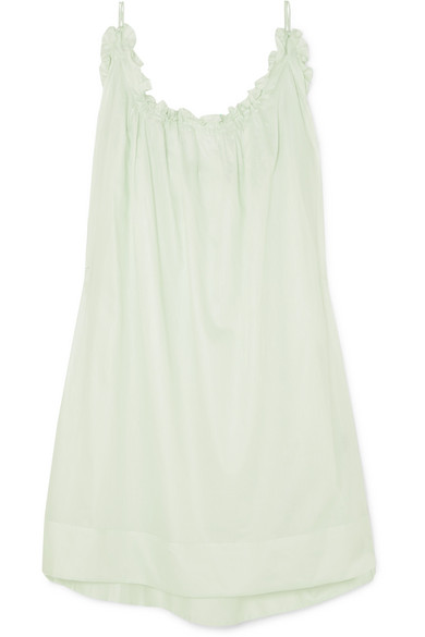 Three Graces London Nightingale Ruffled Cotton-voile Nightdress In Mint