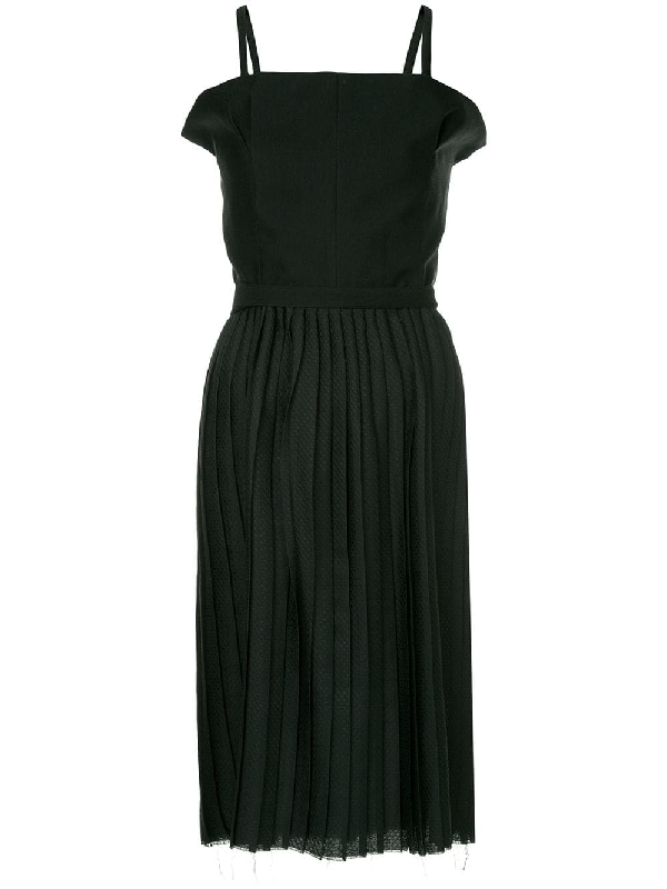 Bassike Pleated Belted Dress - Black