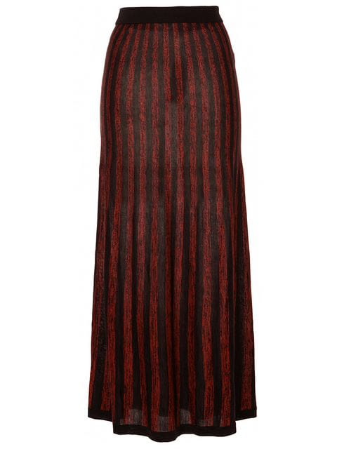 Sonia Rykiel Striped Midi Skirt In Red