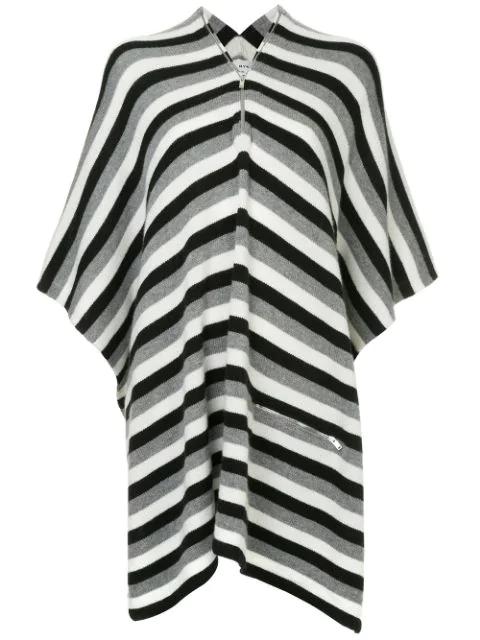 Sonia Rykiel Gestreifter Kaschmir-poncho In Grey
