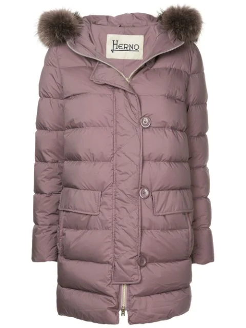 Herno Faux Fur Trimmed Hood Padded Coat - Purple