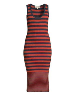 Michael Michael Kors Striped Sleeveless Tank Dress In True Navy Bright Terracotta