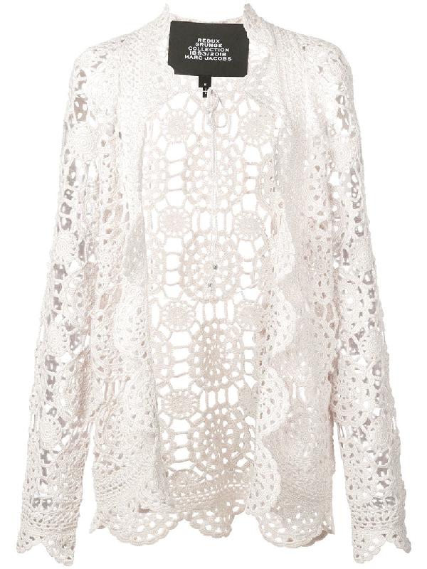 Marc Jacobs Redux Grunge Crochet Cotton Cardigan In White Modesens