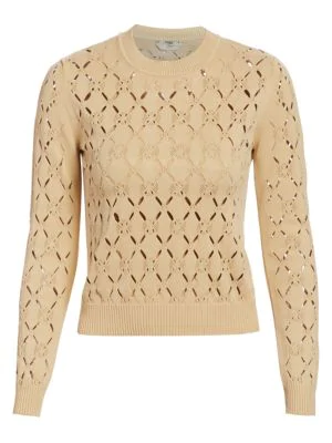 Fendi Cutout Knit Pullover In Beige Cuba