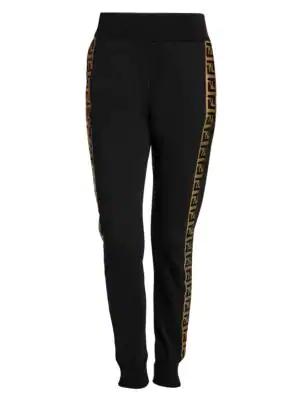 Fendi Logo Stripe Sweat Pants In Black