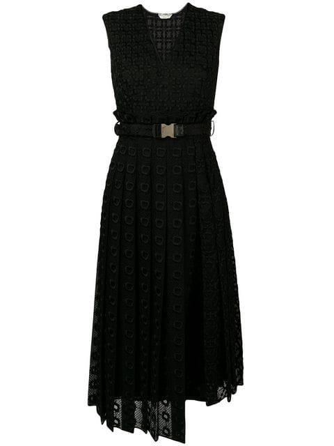 Fendi Broderie Anglaise And Silk Organza Midi Dress In Black