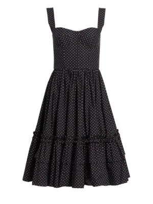 Dolce & Gabbana Polka Dot Bustier Ruffle Hem Dress In Black
