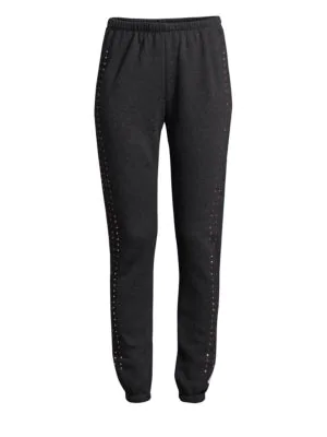 Wildfox Embellished Sweatpants In Clean Black