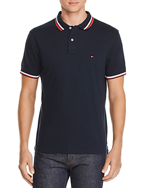 Tommy Hilfiger Stripe-trimmed Polo Shirt In Sky Captain