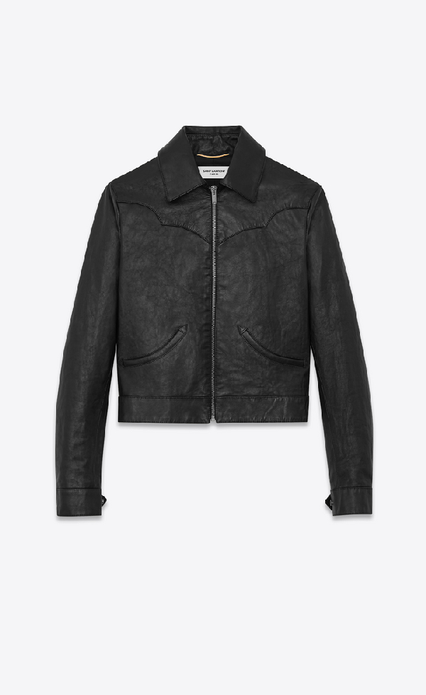 Saint Laurent Western-style Jacket In Vintage Leather In Black